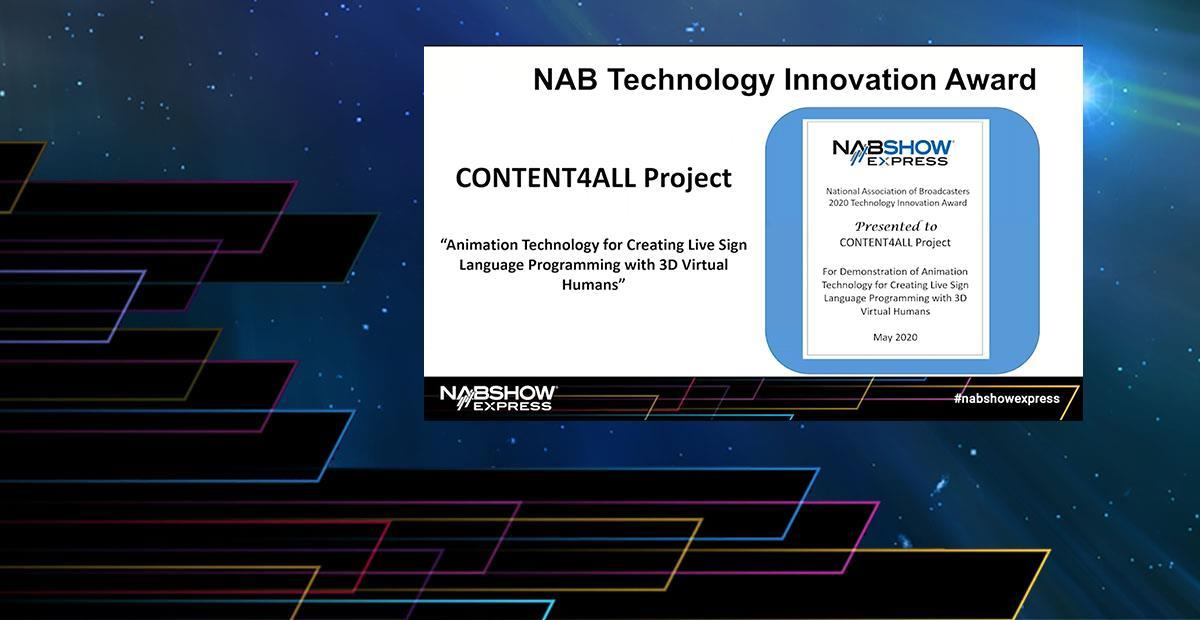 CONTENT4ALL gewinnt den NAB Technologie-Innovationspreis